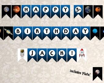 Space Birthday Banner, Astronaut Birthday Banner, Rocket Birthday Banner, Planets Birthday Banner