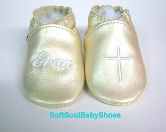 Gold leather Baptism Christening shoes -rose gold girl moccasins or boy leather moccs -leather baptism shoes, , personalized shower