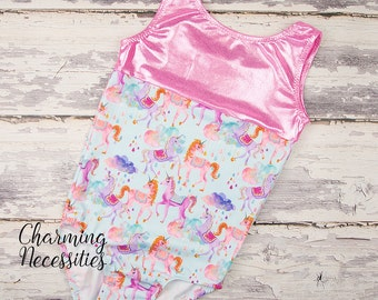 NEW Girls Leotard, Gymnastics Leotard, Tumbling Dance Cheer Sparkly Glitter Print Rainbow Unicorn Leotard by Charming Necessities - Pink