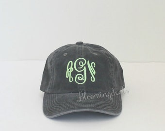 Monogrammed Baseball Cap Personalized Hat Low Profile Unstructured Pigment Dyed