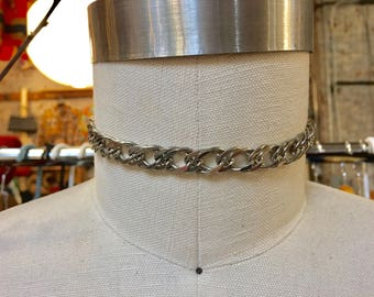 vintage silver tone link chain choker necklace