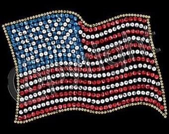 Womens Tank Top Tee Shirt Rhinestone America Flag Patriotic USA 4th of July Sizes Small thru 2XL Plus Sizes Too FREE Shipping