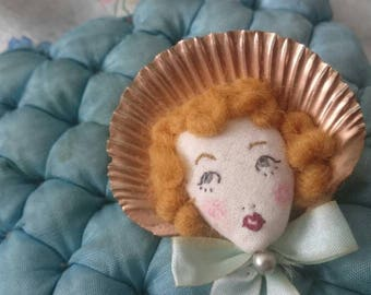 RESERVED - Hello Dolly!! Scallop Shell Doll Face Embroidered Bow & Pearls Brooch