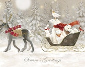 Arctic Sleigh Ride Christmas Card - A6 Landscape - pack of 5
