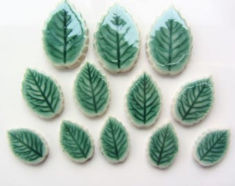 12 ceramic mosaic leaf tiles, handmade, glazed with veins 3 sizes