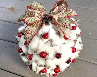 Cotton Ball - Cotton Boll Ball - Kissing Ball - Decoration - Farmhouse Decor - Christmas Decoration - Tabletop Decor