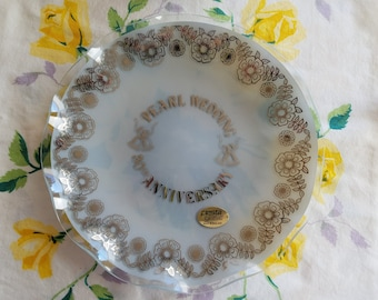 Vintage 30th Pearl Anniversary Plate, NIB, Fiesta Glass, Made in England