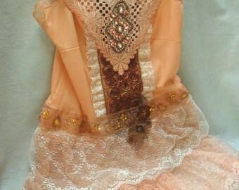 Holiday Sale 30% Off TUNIC Top Tank Whimsical Boho Romantic Fairylike Glam Girl Fairy Princess- Burnt Harvest and Ivory