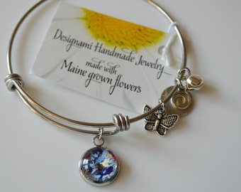 Seasons of Maine: Flower Petal Bangle Bracelet with Maine Grown Flowers charm-Made in Maine Jewelry-Maine nature inspired jewelry
