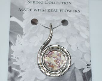 Flower Petal and Hammered Wire Swirl Necklace-Seasons of Maine Spring Collection featuring a necklace made with real flowers grown in Maine