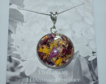 Pendant made with flowers-Flower Petal jewelry made with Maine Grown Flowers-Made in Maine Jewelry-Maine nature inspired jewelry