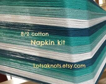Striped NAPKIN Weaving kit, Weave 4 napkins, Handwoven, Handmade, Black, turquoise, and white stripes, Weaving