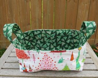 Fabric Basket Bin, Storage, Organization, Home Decor, Gift Bin, Fabric Bin, Holiday Trees in Red and Green, Small Size