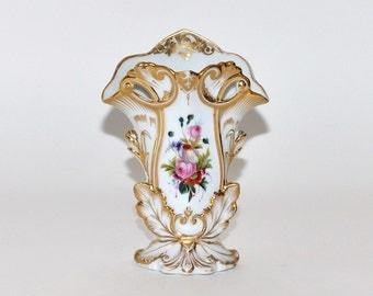 Antique Old Paris Hand Painted Gold Gilt Porcelain Vase, circa 1850s, Mother Day Gift