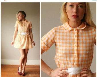 25% OFF SALE 1960s Sherbert Plaid Dress~Size Extra Small or Girls Size 10/12