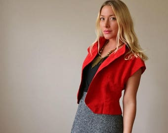 SPRING SALE 1970s Halston Red Jacket >>> Size Small to Medium
