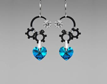 Dramatic Swarovski Crystal Earrings, Bermuda Blue Crystals, Industrial Jewelry, Statement Earrings, Blue Crystal Earrings, Neptune II v13
