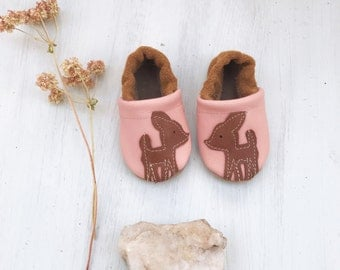 Pink Deer  Soft Soled Leather Shoes Slippers Baby and Toddler//Free Shipping in USA// Starry Knight Design