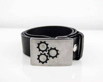 Custom Etched Enamel Stainless Steel Logo Belt Buckle
