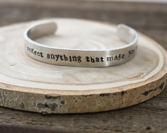 Cuff Bracelet - Never regret anything that made you smile - aluminum cuff -  stocking stuffer - adjustable bracelet - boho cuff- Parrothead
