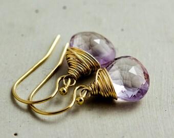 Pink Amethyst Earrings, Amethyst Earrings, February Birthstone, Drop Earrings, Dangle Earrings, Pastel Pink, Rose, Gold Earrings, PoleStar