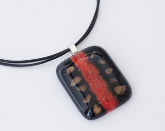Black Red Pendant / Fused Glass Necklace / Fused Glass Pendant / Statement Jewelry / Gift For Her / Gift Ideas / Fused Glass Jewelry /
