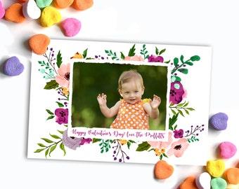 Watercolor Floral custom photo Valentines card - digital file