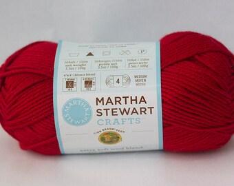 Destash, Red Worsted Yarn, Lion Brand Martha Stewart Extra Soft Wool Blend Yarn Holly Berry Red