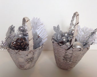 Duo of frosted Christmas basket arrangement