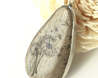 natural wood necklace pendant. natural wood necklace, sterling silver wood pendant, dandelion painted design,