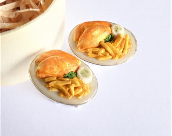 Fish and Chips Cufflinks - Pub Food Cuff Links - Miniature Food Art Jewelry Collectable - Schickie Mickie Original 100% Handmade