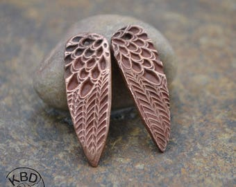 Handmade Copper Point shaped Feather pair