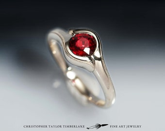 14K Palladium White Gold Engagement Ring with Custom Stone (Ruby Pictured)