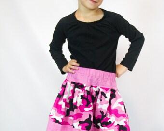 Girls Pink Camoufalge Twirl Skirt - Pink Twirl Skirt - Camouflage Skirt
