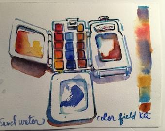 Original watercolor of a Winsor Newton Travel color Field kit.