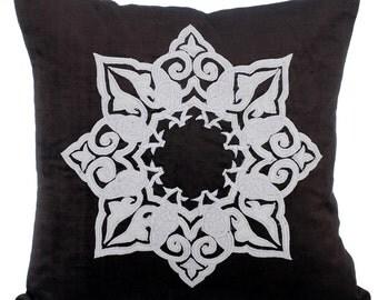 Black Decorative Throw Pillow Covers Accent Pillow Couch Toss Sofa Pillow 16x16 Black & White Velvet Applique Pillow - Zen State