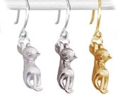 MERZIEs gold- or silver-filled earwires U PICK finish 18x5mm kitty CAT charm feline animal earrings - SHIPs from USA