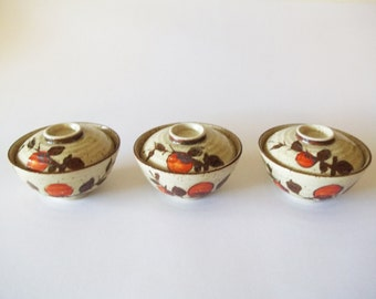 Otagiri Stoneware Covered Rice / Soup Bowls, OMC Set of 3, Japan 1970s