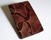 Leather Checkbook Cover with Ginkgo Leaf Design