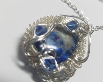 Wire Wrapped Woven Pendant  Sodalite and Swarovski Crystals in Sterling -free SP chain