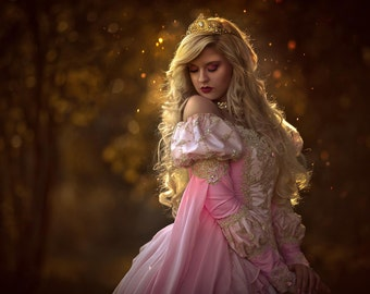 Custom Pink Ombre Sleeping Beauty Princess Medieval Wedding Fantasy Gown