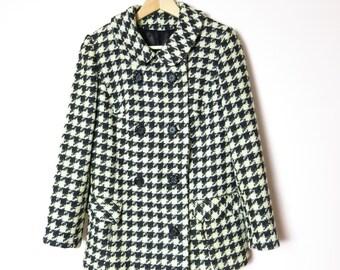 Vintage Saks Fifth Avenue Houndstooth Jacket Coat M