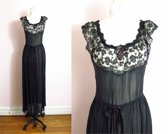 1940s Black Semi Sheer Floral Bust Gown Nightgown S/M