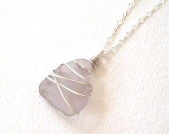 Rare Purple Sea Glass Wrap Necklace on Sterling Silver