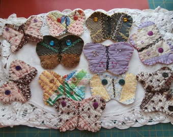 VINTAGE QUILT BUTTERFLY Appliques or Magnets choose from 11