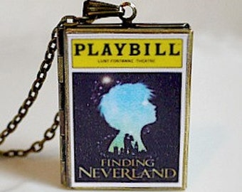 Finding Neverland Playbill, Finding Neverland Musical Theater, The Man Who Was Peter Pan, JM Barrie, Never Never Land, Plabyill Necklace