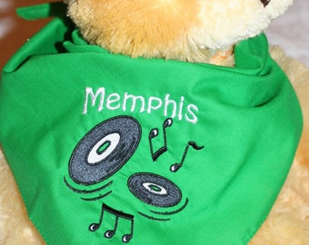 Music Dog Scarf, Music Band Dog Scarf, Pet Scarf, Appliqued and Embroidered Green Dog Scarf