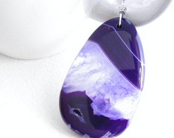 Mauve Quartz Necklace, Purple Crystal Agate Pendant, Handmade in Calgary Alberta