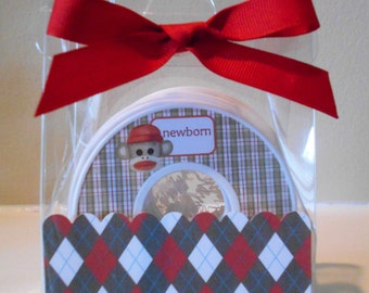 Baby Closet Dividers-set of 9-SOCK MONKEY- in Acrylic Gift Box