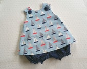 Cross-Back Pinafore Top and Bloomers Set baby or toddler - 6 mos to 6 yrs - Seaworthy Sailboat Collection